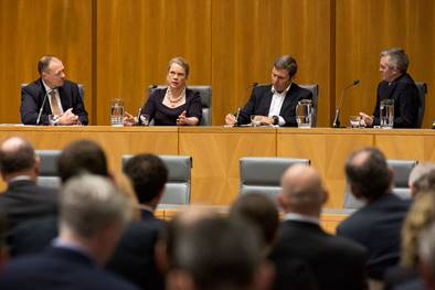 'Hosting a panel discussion with leading political journalists Laura Tingle, Chris Uhlmann and David Speers