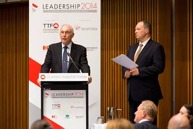 Rowan moderating a Q&A with Deputy Prime Minister Warren Truss at a conference at Parliament House in Canberra